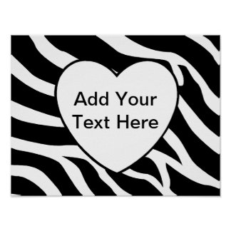 Zebra Print Stripes White Heart Poster
