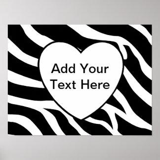 Zebra Print Stripes White Heart Poster