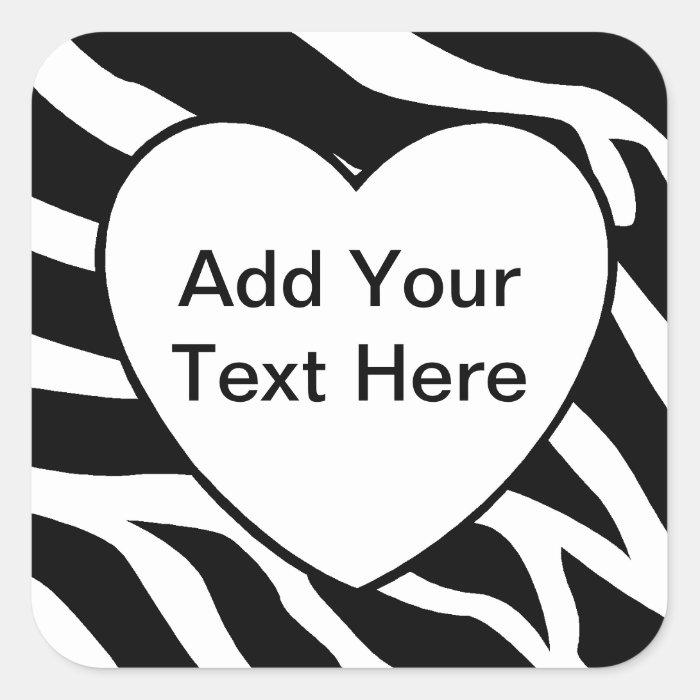 Zebra Print Stripes White Heart Square Sticker
