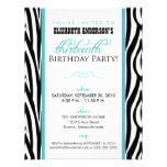 Zebra Print Sweet 13 Party Invitation (aqua)