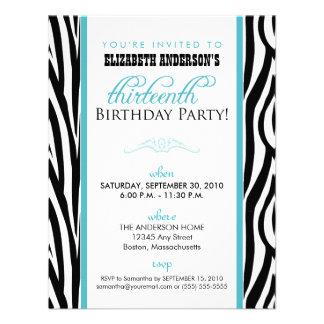 Zebra Print Sweet 13 Party Invitation aqua