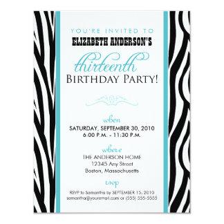 "Zebra Print Sweet 13 Party Invitation (aqua) 4.25"" X 5.5"" Invitation Card"