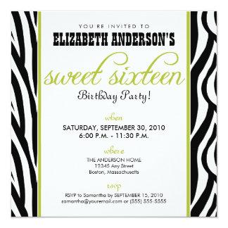 Zebra Print Sweet 16 Party Invitation (lime)