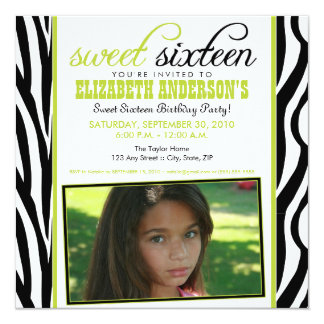 Zebra Print Sweet 16 Party Invitation (lime green)