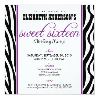 Zebra Print Sweet 16 Party Invitation (purple)