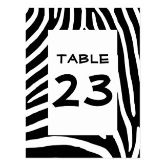 Zebra Print Table Number Postcard