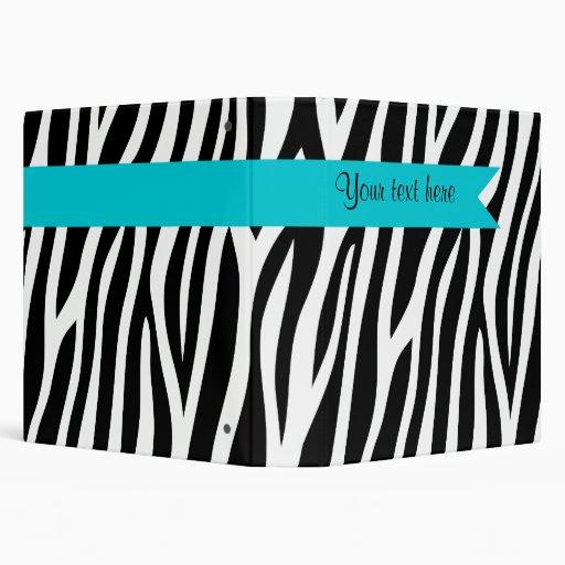Zebra Print Teal Blue Banner Personalized Binder