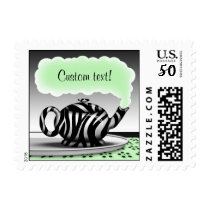 Zebra Print Teapot Green Postage Stamps