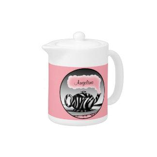 Zebra Print Teapot on a Personalized Pink Teapot