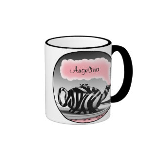 Zebra Print Teapot Pink Personalized Mug