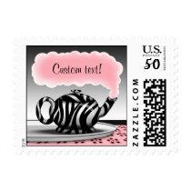 Zebra Print Teapot Pink Postage Stamps