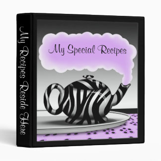 Zebra Print Teapot - Purple & Black Recipe Binder