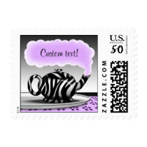 Zebra Print Teapot Purple Postage Stamps