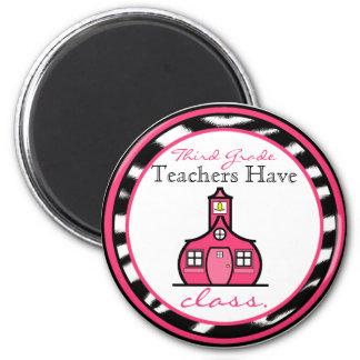 Zebra Print Third Grade Teacher Magnet