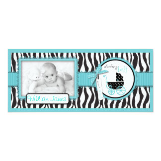 Zebra Print Turquoise Accent Birth Announcement