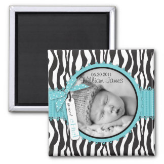 Zebra Print Turquoise Accent Birth Announcement 2 Inch Square Magnet
