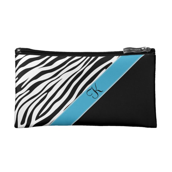 Zebra Print Turquoise Accent Monogram Makeup Bag