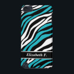 "Zebra Print Turquoise Mix iPod Touch 5G Case<br><div class=""desc"">Personalized iPod Touch 5G case with a black,  white,  and turquoise zebra print pattern design,  custom printed with your name over a black nameplate stripe design.</div>"