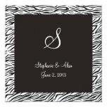 "Zebra Print Wedding Invitation 5.25"" Square Invitation Card"