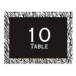 Zebra Print Wedding Table Number Postcards