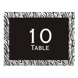 Zebra Print Wedding Table Number Postcards
