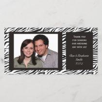 Zebra Print Wedding Thank You Photo Cards