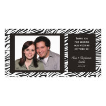 Zebra Print Wedding Thank You Photo Cards