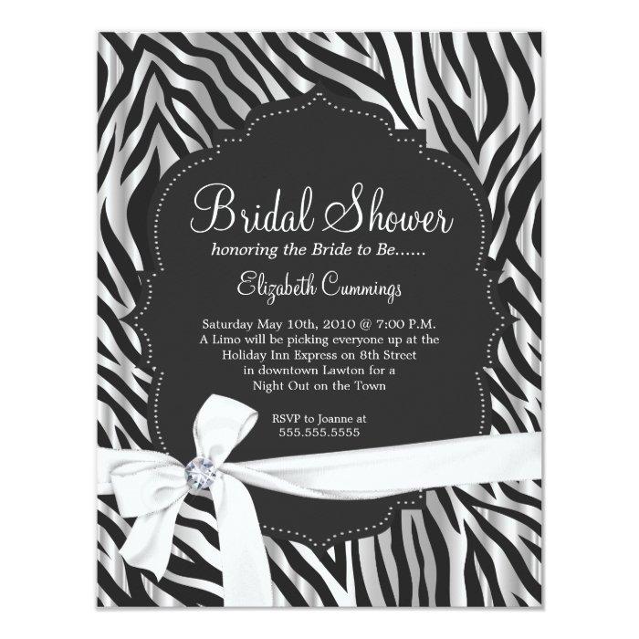 Zebra Print White Ribbon & Diamond Fashion Bridal Card