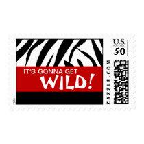 """Zebra Print """"Wild Party"""" postage"""