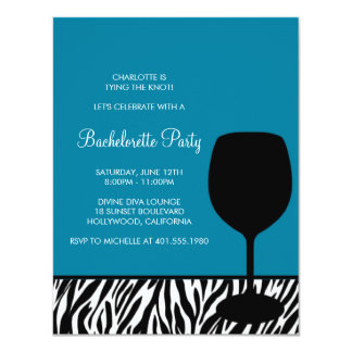 zebra print wine bachelorette card