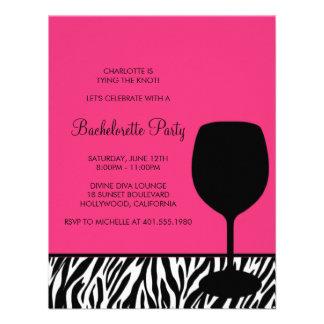 zebra print wine bachelorette invitation