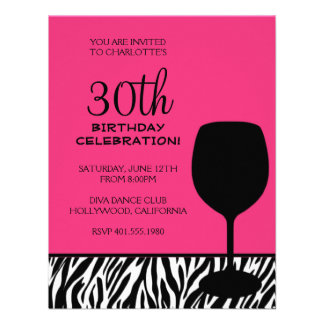 zebra print wine birthday personalized invitation