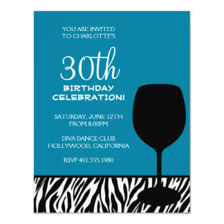 zebra print wine birthday invitation