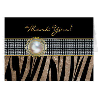 Zebra Print with Brooch Wedding Thank You Card