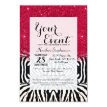 Zebra Print with Faux Pink Brush Stroke Glitter Card