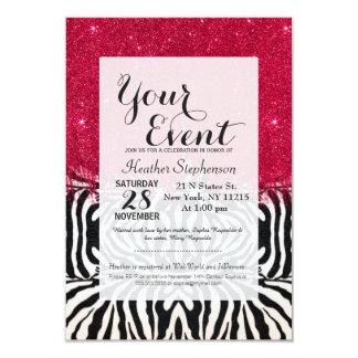 Zebra Print with Faux Pink Brush Stroke Glitter Card