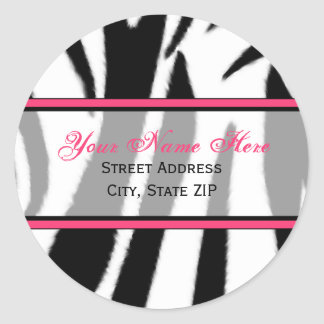 Zebra Print with Pink Address Labels Classic Round Sticker