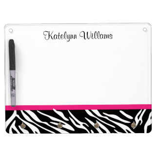 Zebra Print with Pink Dry Erase Whiteboard