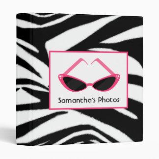 Zebra Print With Retro Pink Sunglasses Binder