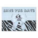 Zebra & Printed Bow Baby Shower Save the Date 3.5x5 Paper Invitation Card