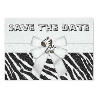 Zebra & Printed Bow Baby Shower Save the Date Card