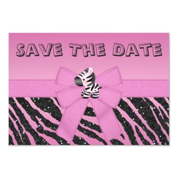 GroovyGraphics Zebra & Printed Bow Baby Shower Save the Date Card