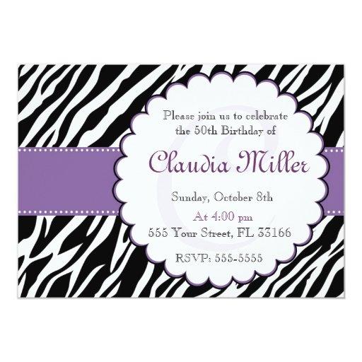 Zebra Prune Violet Birthday Invitation 50th 60th