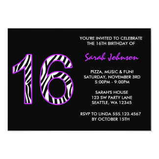 Zebra Purple and Black Sweet 16 Birthday Card