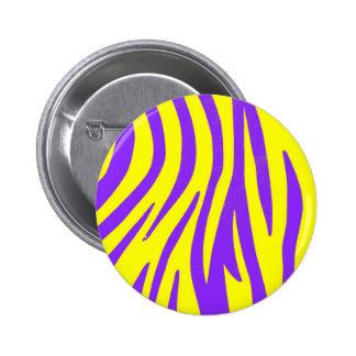 Zebra Purple and Yellow Abstract Animal Prints Art Button