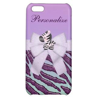 Zebra, Purple Animal Stripes & Printed Bow iPhone 5C Cover