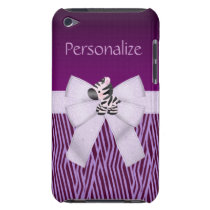 Zebra, Purple Animal Stripes & Printed Bow iPod Touch Case