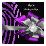 Zebra Purple Black Silver Bow Pearl Birthday 2 Personalized Invitation