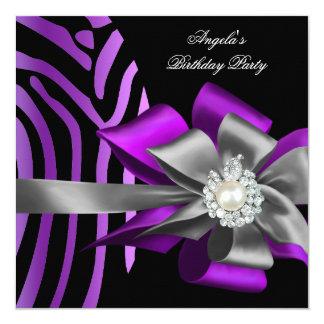 """Zebra Purple Black Silver Bow Pearl Birthday 2 5.25"""" Square Invitation Card"""