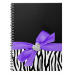 Zebra Purple Bow Diamond Heart Notebook